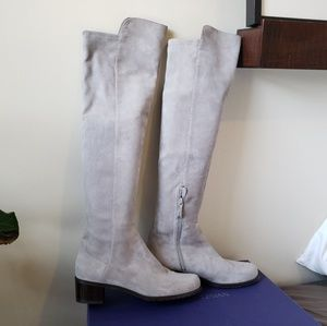 Stuart Weiztman Grey Over the Knee Suede Boots